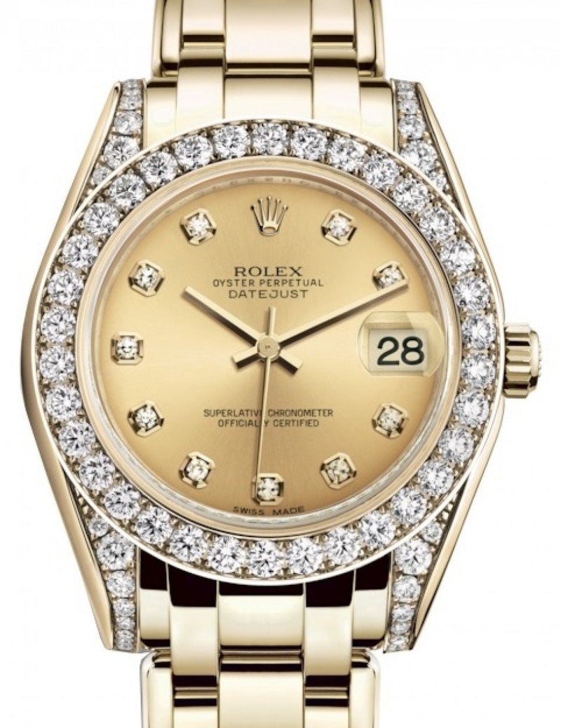 Ladies Rolex Pearlmaster 34 Yellow Gold Champagne Diamond Dial & Diamond Set Case & Bezel Pearlmaster Bracelet 81298 - BRAND NEW