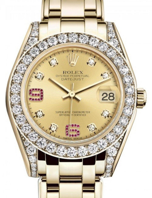 Ladies Rolex Pearlmaster 34 Yellow Gold Champagne Diamond & Ruby Arabic Dial & Diamond Set Case & Bezel Pearlmaster Bracelet 81298 - BRAND NEW - Global Timez