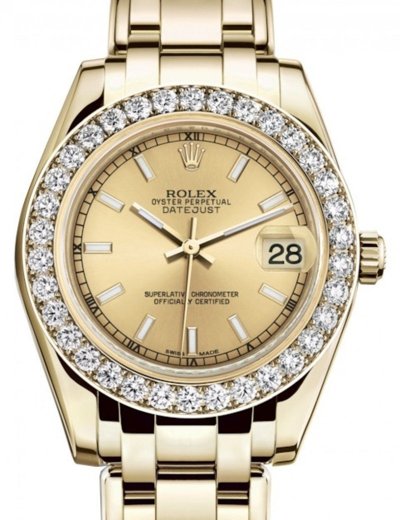 Ladies Rolex Pearlmaster 34 Yellow Gold Champagne Index Dial & Diamond Bezel Pearlmaster Bracelet 81298 - BRAND NEW