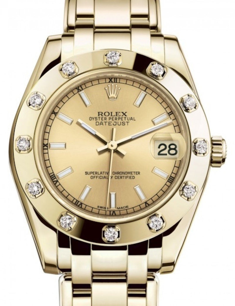 Ladies Rolex Pearlmaster 34 Yellow Gold Champagne Index Dial & Diamond Set Bezel Pearlmaster Bracelet 81318 - BRAND NEW