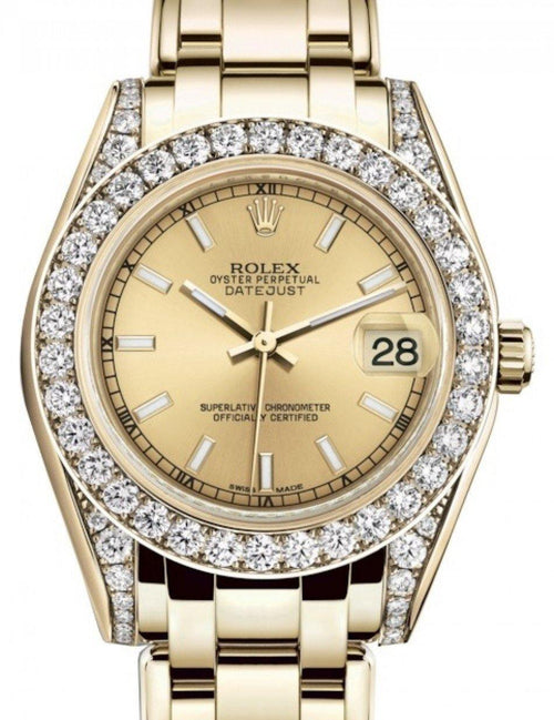 Ladies Rolex Pearlmaster 34 Yellow Gold Champagne Index Dial & Diamond Set Case & Bezel Pearlmaster Bracelet 81298 - BRAND NEW - Global Timez