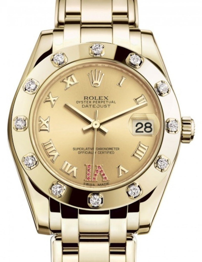 Ladies Rolex Pearlmaster 34 Yellow Gold Champagne Roman & Ruby VI Dial & Diamond Set Bezel Pearlmaster Bracelet 81318 - BRAND NEW