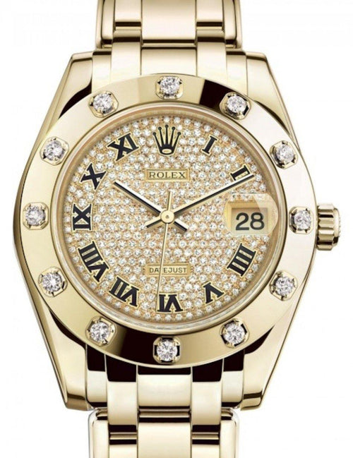 Ladies Rolex Pearlmaster 34 Yellow Gold Diamond Paved Roman Dial & Diamond Set Bezel Pearlmaster Bracelet 81318 - BRAND NEW - Global Timez