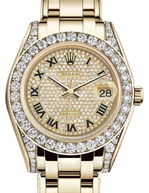 Ladies Rolex Pearlmaster 34 Yellow Gold Diamond Paved Roman Dial & Diamond Set Case & Bezel Pearlmaster Bracelet 81298 - BRAND NEW - Global Timez
