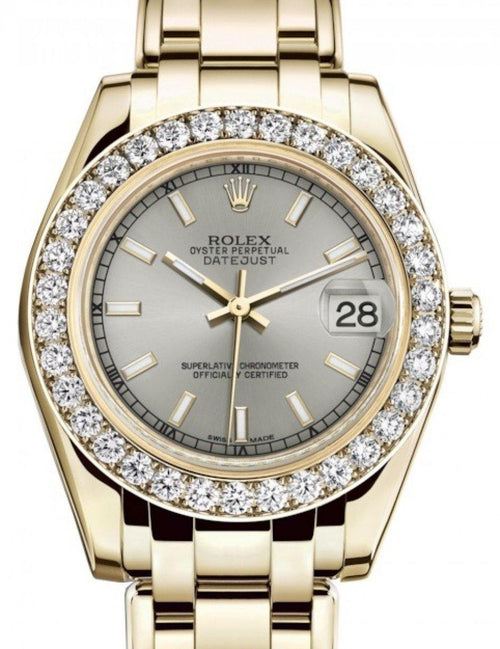 Ladies Rolex Pearlmaster 34 Yellow Gold Silver Index Dial & Diamond Bezel Pearlmaster Bracelet 81298 - BRAND NEW - Global Timez