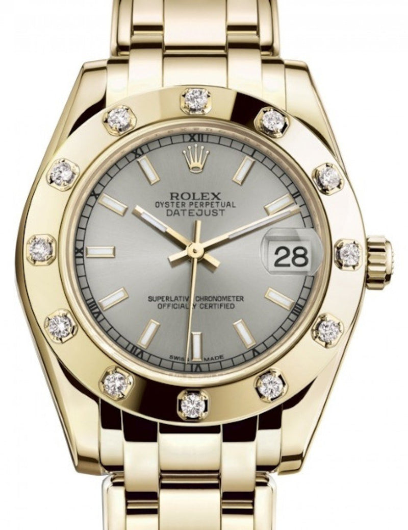 Ladies Rolex Pearlmaster 34 Yellow Gold Silver Index Dial & Diamond Set Bezel Pearlmaster Bracelet 81318 - BRAND NEW