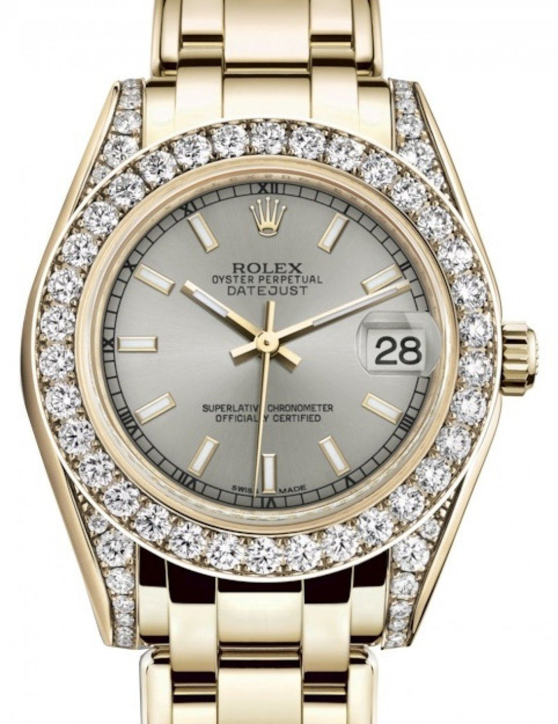 Ladies Rolex Pearlmaster 34 Yellow Gold Silver Index Dial & Diamond Set Case & Bezel Pearlmaster Bracelet 81298 - BRAND NEW
