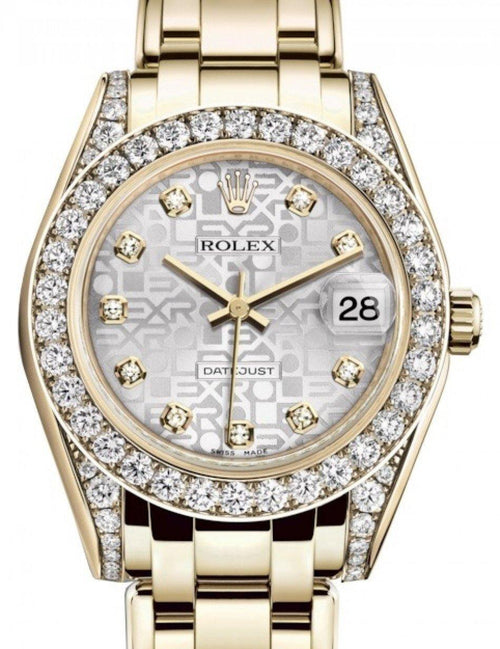 Ladies Rolex Pearlmaster 34 Yellow Gold Silver Jubilee Diamond Dial & Diamond Set Case & Bezel Pearlmaster Bracelet 81298 - BRAND NEW - Global Timez