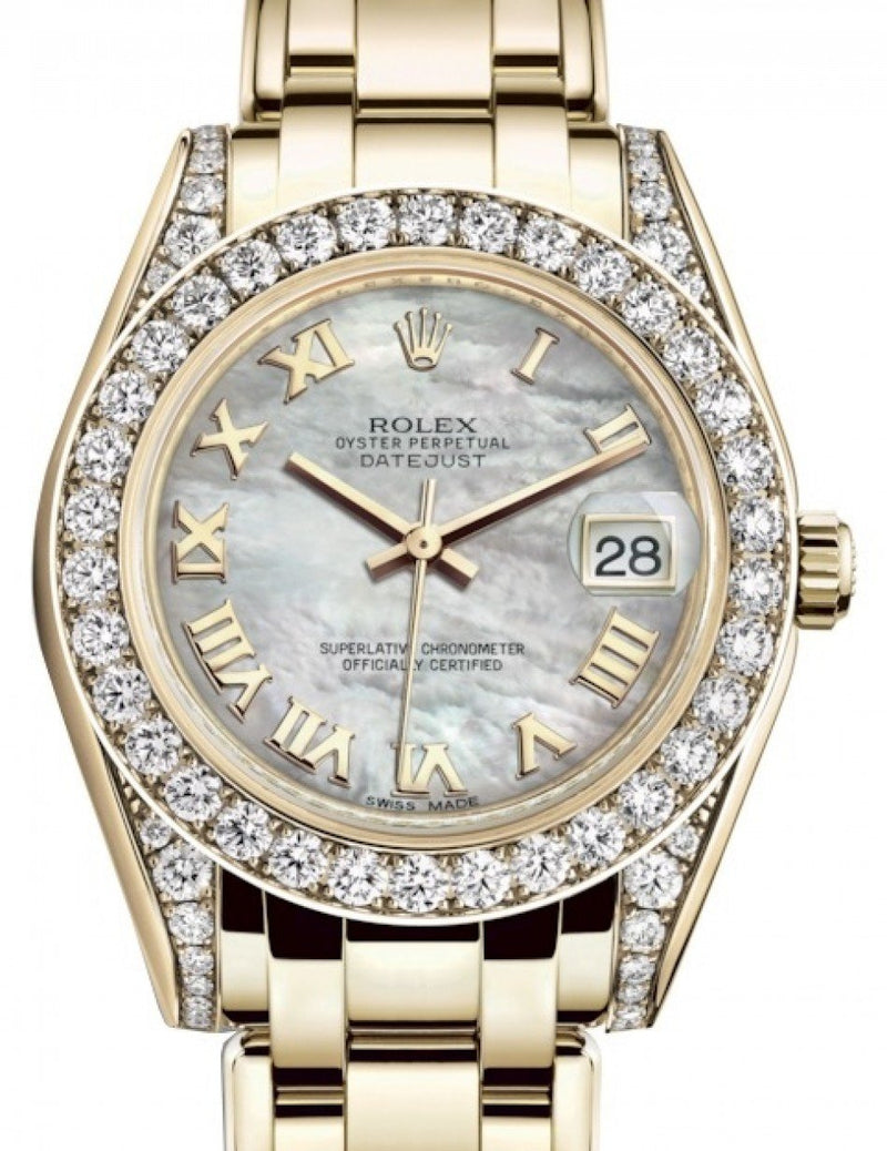 Ladies Rolex Pearlmaster 34 Yellow Gold White Mother of Pearl Roman Dial & Diamond Set Case & Bezel Pearlmaster Bracelet 81298 - BRAND NEW
