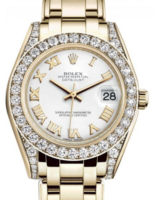 Ladies Rolex Pearlmaster 34 Yellow Gold White Roman Dial & Diamond Set Case & Bezel Pearlmaster Bracelet 81298 - BRAND NEW - Global Timez