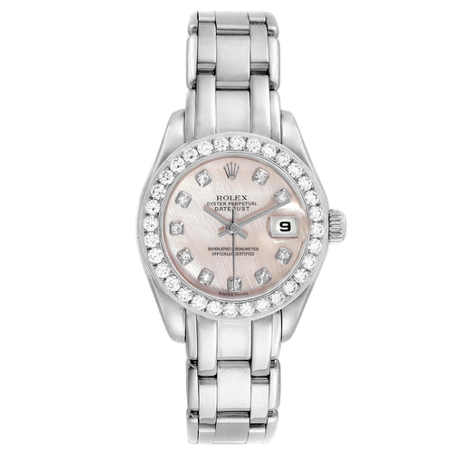 Rolex Pearlmaster White Gold MOP Diamond Ladies Watch 80299 Box Papers PRE-OWNED - Global Timez