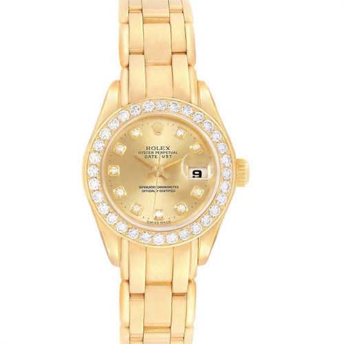 Rolex Pearlmaster Yellow Gold Diamond Ladies Watch 69298 PRE-OWNED - Global Timez