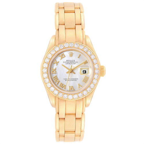 Rolex Pearlmaster Yellow Gold MOP Diamond Bezel Ladies Watch 69298 PRE-OWNED