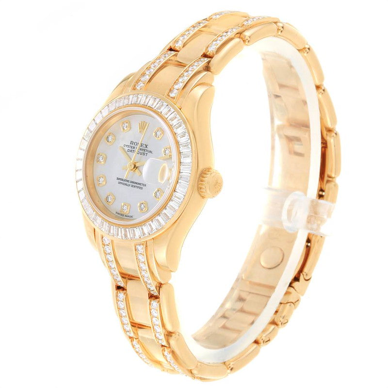 Ladies Rolex Pearlmaster Yellow Gold Two Row Diamond Bracelet Watch 80308 PRE-OWNED