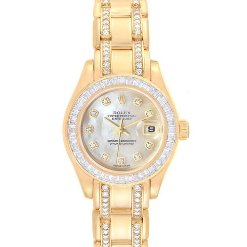 Rolex Pearlmaster Yellow Gold Two Row Diamonds Bracelet Ladies Watch 80308 PRE-OWNED - Global Timez
