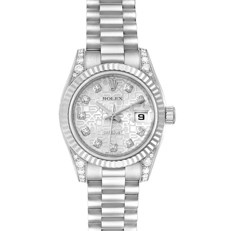 Rolex President Crown Collection White Gold Diamond Ladies Watch 179239 PRE-OWNED