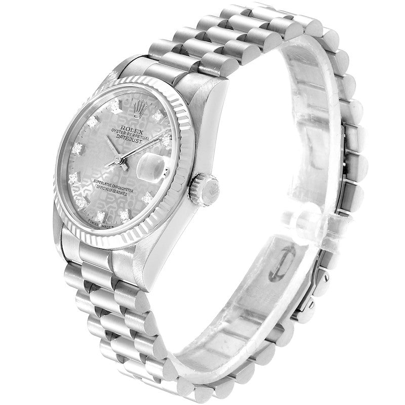 Rolex President Datejust Midsize White Gold Diamond Ladies Watch 68279 PRE-OWNED