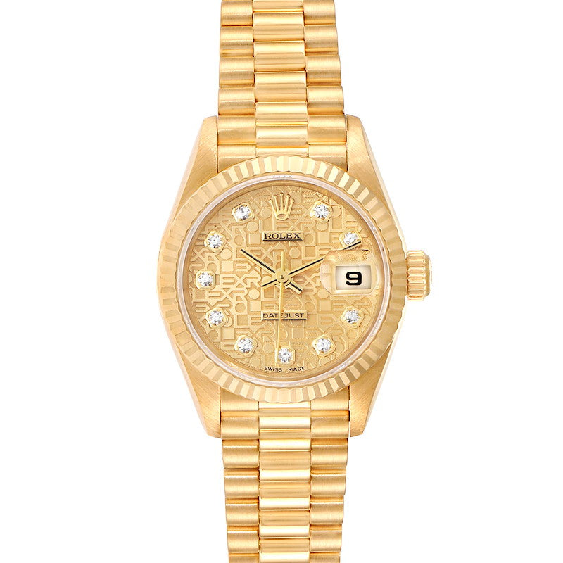 Rolex President Datejust Yellow Gold Diamond Dial Ladies Watch 79178 PRE-OWNED