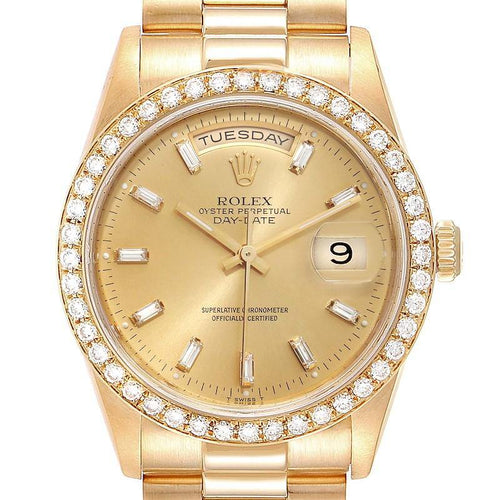 Rolex President Day Date 36mm Yellow Gold Diamond Men's Watch 18348 PRE-OWNED - Global Timez