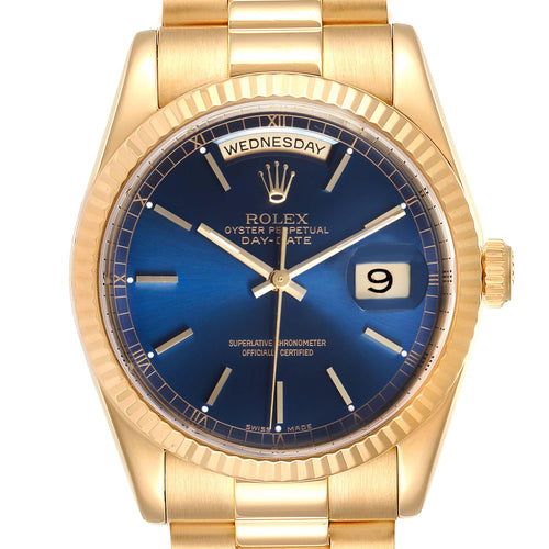 Rolex President Day-Date Blue Dial Yellow Gold Men's Watch 118238 PRE-OWNED - Global Timez