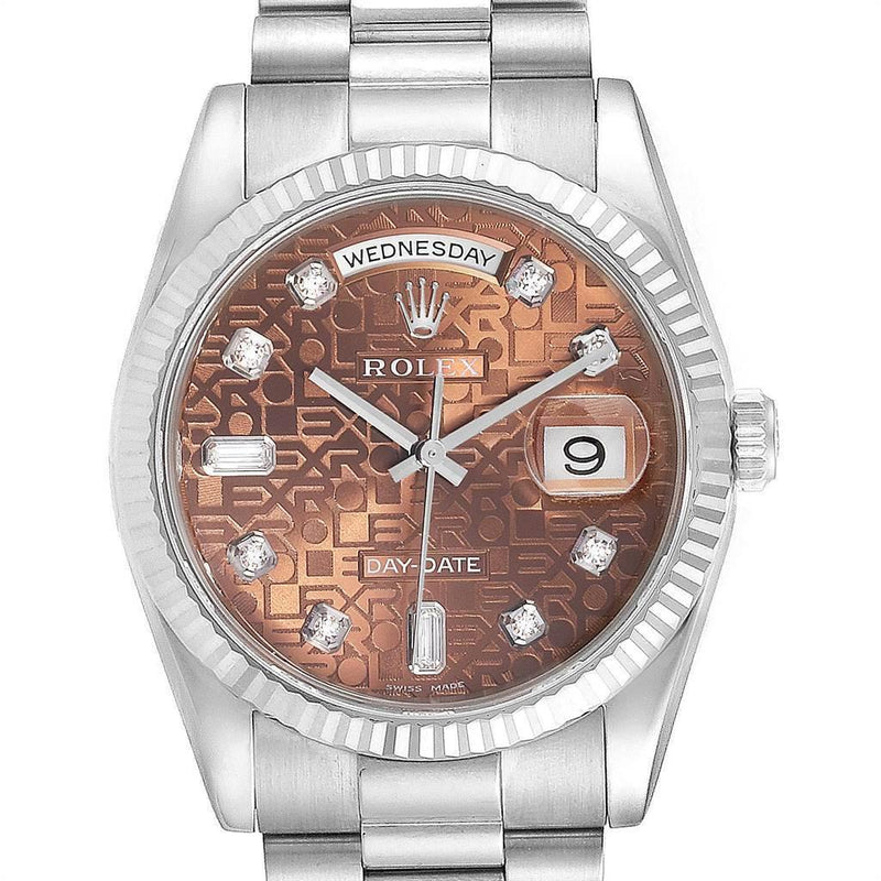 Rolex President Day-Date White Gold Diamond Men's Watch 118239 Unworn PRE-OWNED