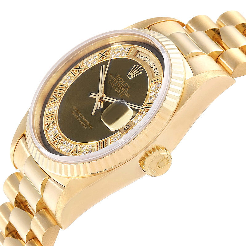 Rolex President Day-Date Yellow Gold Myriad Diamonds Men's Watch 18238 PRE-OWNED