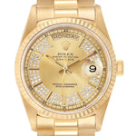 Rolex President Day-Date Yellow Gold String Diamond Dial Men's Watch 18238 PRE-OWNED
