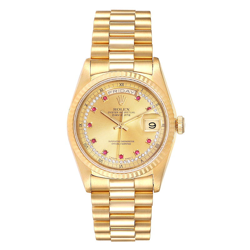 Men's Rolex President Day-Date Yellow Gold String Diamond Ruby Dial Watch 18238 PRE-OWNED