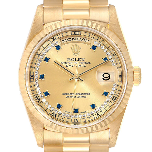 Men's Rolex President Day-Date Yellow Gold String Diamond Sapphire Watch 18238 PRE-OWNED - Global Timez