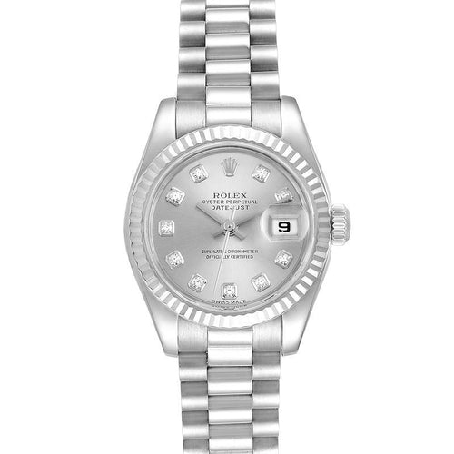 Rolex President Ladies 18k White Gold Diamond Ladies Watch 179179 PRE-OWNED - Global Timez