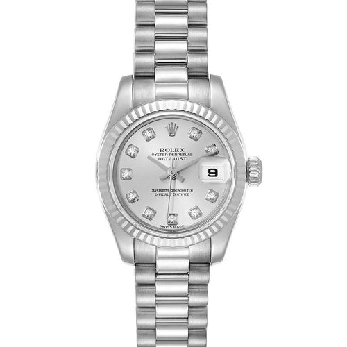 Rolex President Ladies White Gold Diamond Ladies Watch 179179 Box Papers PRE-OWNED - Global Timez