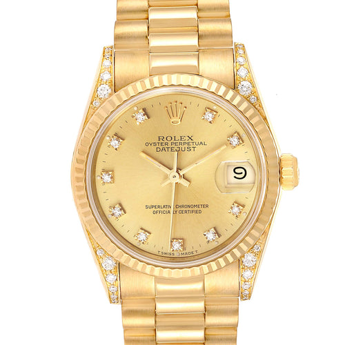 Rolex President Midsize Yellow Gold Diamond Ladies Watch 68238 Box Papers PRE-OWNED - Global Timez