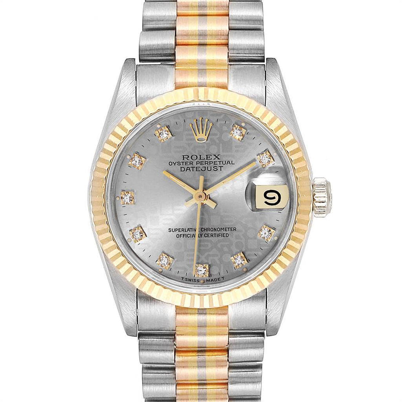 Ladies Rolex President Tridor Midsize White Yellow Rose Gold Diamond Watch 68279 PRE-OWNED