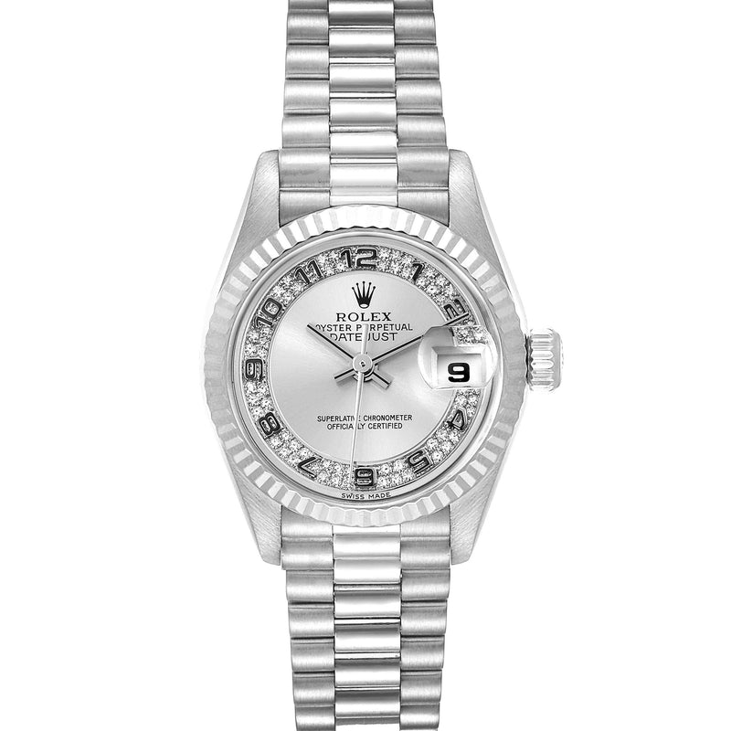 Rolex President White Gold Myriad Diamond Dial Ladies Watch 69179 Box Papers PRE-OWNED