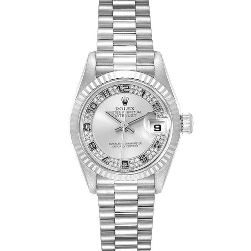 Rolex President White Gold Myriad Diamond Dial Ladies Watch 69179 Box Papers PRE-OWNED - Global Timez