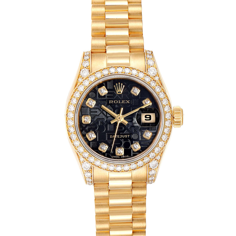 Rolex President Yellow Gold Diamond Dial Bezel Lugs Ladies Watch 179158 PRE-OWNED