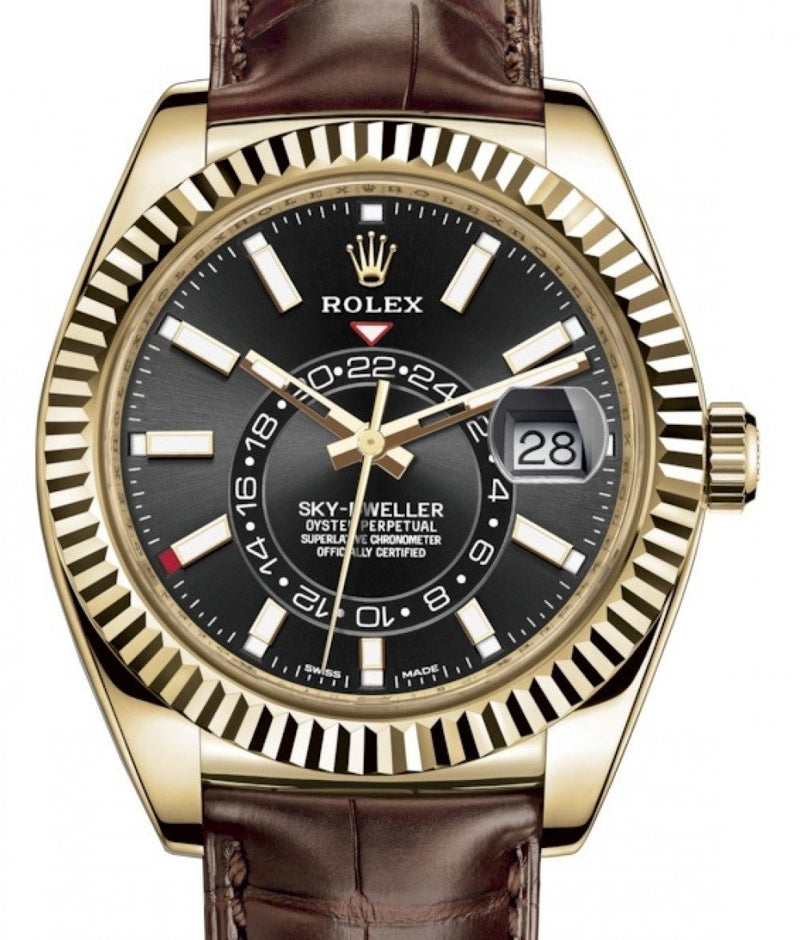 Men's Rolex Sky-Dweller Yellow Gold Black Index Dial Fluted Bezel Leather Strap 326138 - BRAND NEW