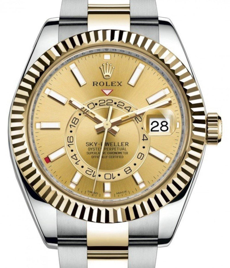 Men's Rolex Sky-Dweller Yellow Gold/Steel Champagne Index Dial Fluted Bezel Oyster Bracelet 326933 - BRAND NEW