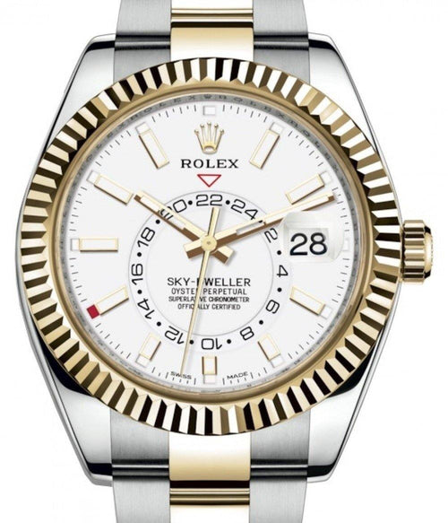 Men's Rolex Sky-Dweller Yellow Gold/Steel White Index Dial Fluted Bezel Oyster Bracelet 326933 - BRAND NEW - Global Timez