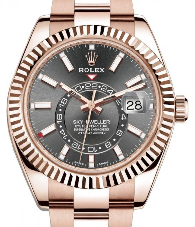 Men's Rolex Sky-Dweller Rose Gold Dark Rhodium Index Dial Fluted Bezel Oyster Bracelet 326935 - BRAND NEW