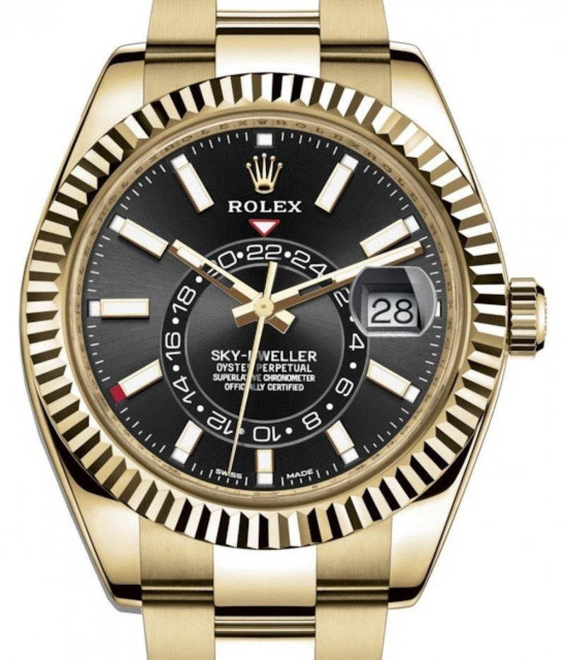 Men's Rolex Sky-Dweller Yellow Gold Black Index Dial Fluted Bezel Oyster Bracelet 326938 - BRAND NEW