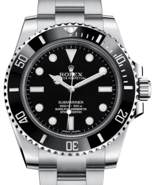 Men's Rolex Submariner No Date Stainless Steel Black Dial & Ceramic Bezel Oyster Bracelet 114060 - BRAND NEW - Global Timez