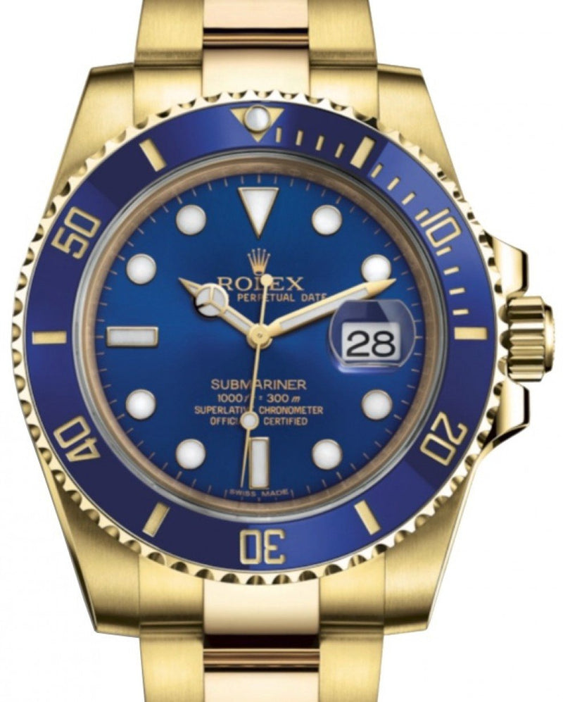 Men's Rolex Submariner Date Yellow Gold Blue Dial & Ceramic Bezel Oyster Bracelet 116618LB - BRAND NEW
