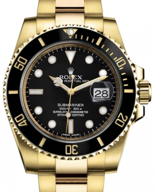 Men's Rolex Submariner Date Yellow Gold Black Dial & Ceramic Bezel Oyster Bracelet 116618LN - BRAND NEW - Global Timez