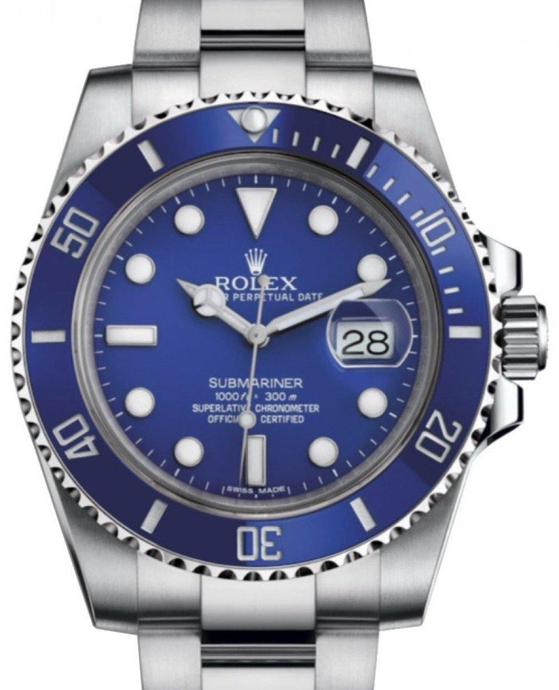 Men's Rolex Submariner Date White Gold Blue Dial & Ceramic Bezel Oyster Bracelet 116619LB - BRAND NEW