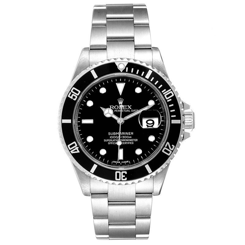 Men's Rolex Submariner Date 40mm Stainless Steel Men's Watch 16610 Box Card PRE-OWNED