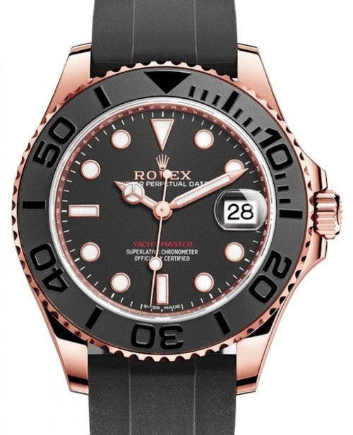 Ladies Rolex Yacht-Master 37 Rose Gold Black Dial Black Ceramic Bezel Rubber Oysterflex Strap 268655 - BRAND NEW - Global Timez