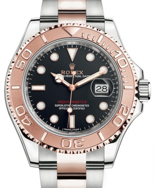 Men's Rolex Yacht-Master 40 Rose Gold/Stainless Steel Black Dial Oyster Bracelet 116621 - BRAND NEW - Global Timez