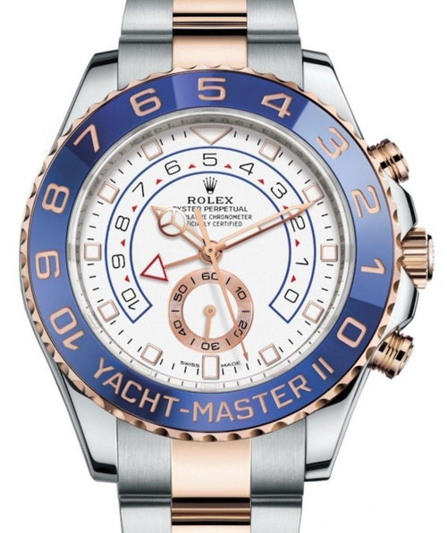 Men's Rolex Yacht-Master II 116681 Blue Ceramic 18k Rose Gold Mercedes Hands Stainless Steel BRAND NEW - Global Timez