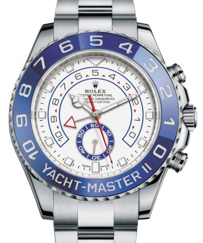 Men's Rolex Yacht-Master II Stainless Steel White Dial Mercedes Hands Blue Ceramic Bezel 116680 - BRAND NEW